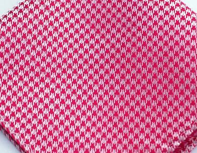 """US Seller New 10"""" 100% Silk Pocket Square  Red Houndstooth"""