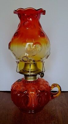 L E Smith Glass Moon and Stars Amberina Finger  Oil Lamp