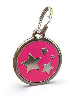 Pet Dog Cat ID Engraved Name Tag Personalised Stainless Steel Hot Pink Stars