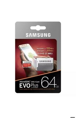 Samsung plus 64GB micro SD SDHC Class 10 UHS-3 memory card Upto 100MB/S with Adp
