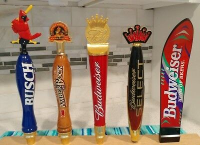 Lot of 5 Budweiser/Busch Beer Tap Handles - Rare Budwesier Surfboard Tapper