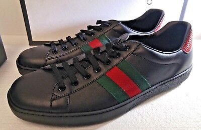 GUCCI ACE MEN'S Black Leather Sneakers