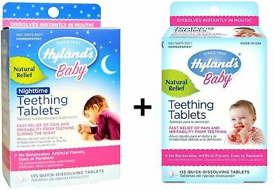 Hyland's Baby Day & Nighttime Natural Teething Tabs (135 Each) - New & Sealed