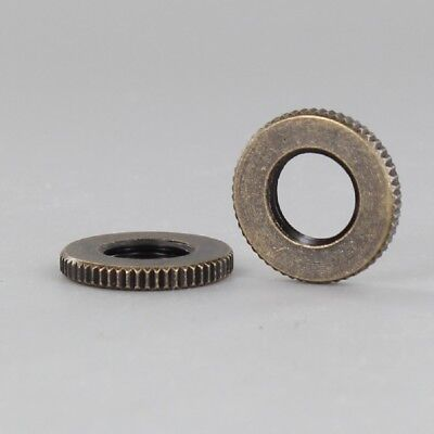 """ANTIQUE BRASS KNURLED NUT ~ 3/4"""" Dia ~ For 1/8 IPS Lamp Pipe ~ { LOT of 5 }"""