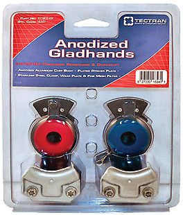 Tectran Anodized Gladhands Pair Red and Blue PT# 1019ES-AR