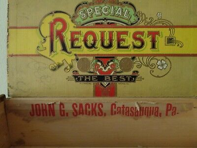 Antique Wood Cigar Box John G Sacks Catasauqua PA Advertising Label