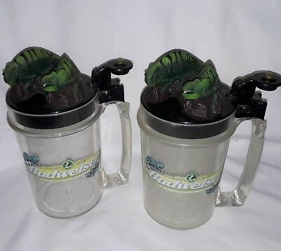 "RARE Budweiser Louie the Lizard Talking Mugs Cups ""We Could Have Been Huge"""