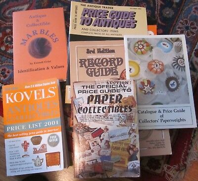 6 Vintage Antique Price Guide Books for Research/Marbles, Records, etc.