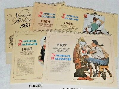 5 Norman Rockwell Appointment Calendars 1983-1988,  adv. Farmers Bank Remsen IA