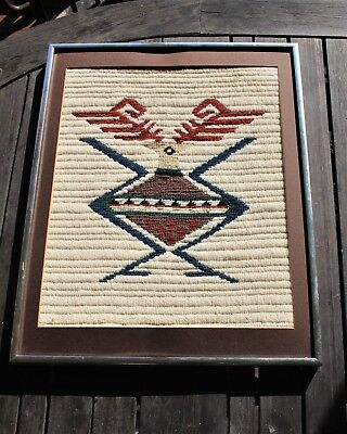 Vintage NATIVE AMERICAN FRAMED WOOL TAPESTRY indian loom woven linen Wall Art
