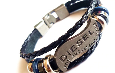 Leather Bracelets Multilayer Braided DIESEL Casual Fashion For Men Women