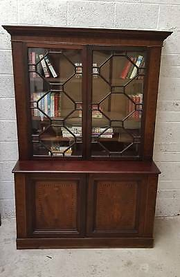 Marquetry Inlaid Victorian Bookcase