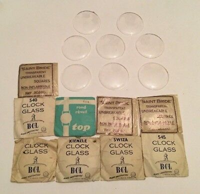 Assortment 17 Large Pocket Watch / Clock Glasses NOS - Sizes 545, 540 & Others