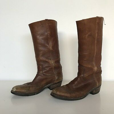 Frye Vintage Mens Cowboy Boots 8 USA Distressed