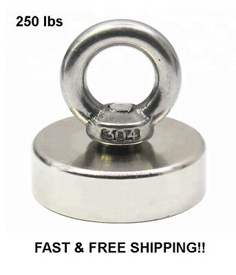 250 Lbs  Pull Force Strong Neodymium Round Hippo Fishing Magnet Recovery