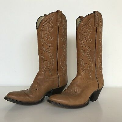 Dan Post USA Made Mens 8.5 D Tall Brown Leather Western Cowboy Boots