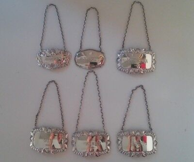 Sterling Silver (.925) Antique Decanter Labels X 6 - Port, Madeira, Sherry, Gin,