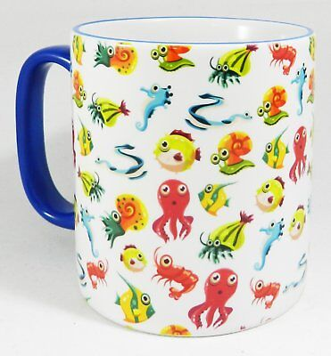 The Ocean Marine Life Mug with cheerful blue handle and rim by Half a