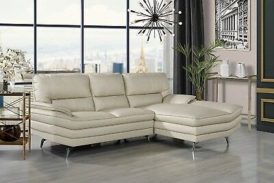 CONTEMPORARY LIVING ROOM Leather Sectional Sofa, L-Shape, Beige