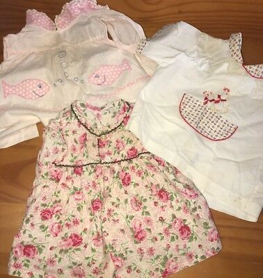 Lot Of 3 1950s True Vintage Baby Doll Toddler Shirts Floral Seals Fish