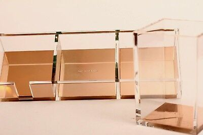 Kate Spade Acrylic Pencil Cup and Desk Organizer Set ~ Pink/Gold Color