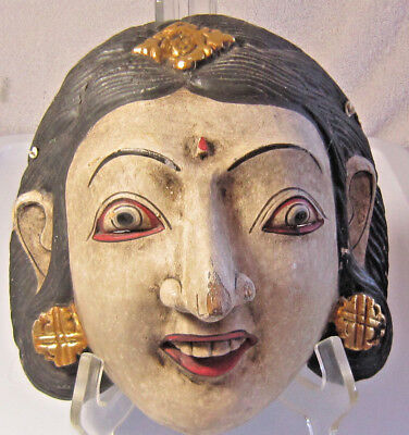 Vintage Carved Indonesian Female Demon Mask Great Condition With Hanging Hook
