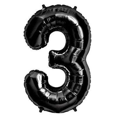 """Foil Balloon 34""""Number 3 - Black by Northstar Balloons (T0e)"""