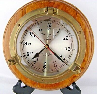 "Vintage Bell Clock Co Ships Clock Porthole Nautical Brass Wood 10"" Works USA"