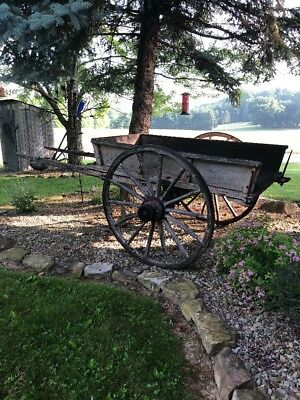 Antique horse / Ox Drawn Dumping Cart Wagon Large  Primitive Farm Fresh 1800s