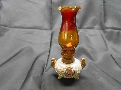 Dragonware Light Green Luster Moriage Miniature Oil Lamp