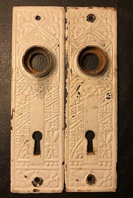 Pair of Antique Art Deco Door Back Plates Ornate Skeleton Key Holes