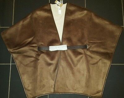 River Island Brown Suede & Sheepskin Effect Belted Poncho/jacket/wrap Bnwt