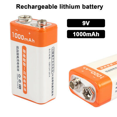 9V 1000mAh Lithium Battery Portable Devices Calculators Mini Li-Ion Cell