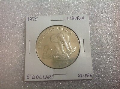1975 Liberia 5 dollars Elephant Silver Collectible Coin-  42mm diameter