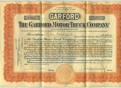 1923 The Garford Motor Truck Company Stock Certificate Elyria Ohio vtg antique