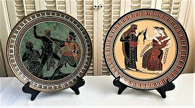 Greek Decorative Plates Pottery Louvre D. Vassilopoulos Made in Greece Set of 2