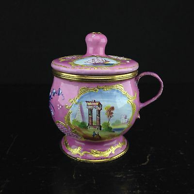 English enamel mustard pot, pink ground with landscapes, c.1770