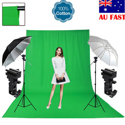 Photography Umbrella Lighting Light Stand Flash Mount B Green Muslin Backdrop AU
