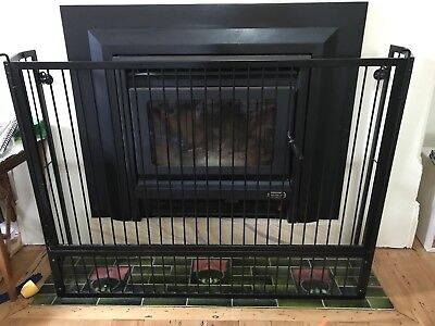 Black Steel Child Baby Safety Fireplace Screen Barrier Gate