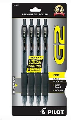 Pilot G2 Retractable Gel Ink Roller Ball Pens, Fine Point, Black Ink 4 ea 0.7mm