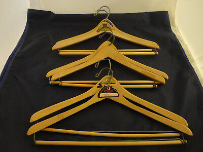 Lot of 6 Vintage Wooden Suit Hangers Wishbone Batts, Nagel, W. Germany (718)