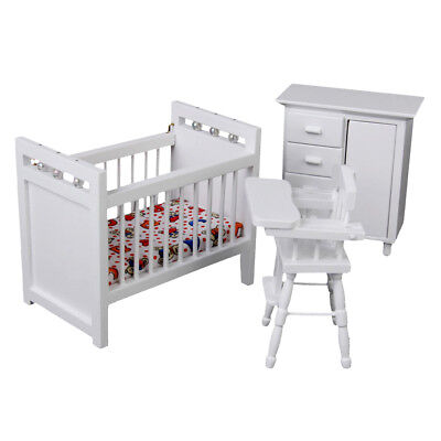 1/12 Doll House Miniature White Wooden Baby Nursery Room Set Decoration