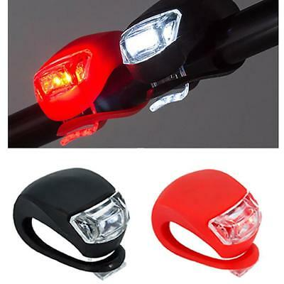 2X Silicone Bike Bicycle Cycling Head Front Rear Wheel LED Flash Light Lamp  ZH