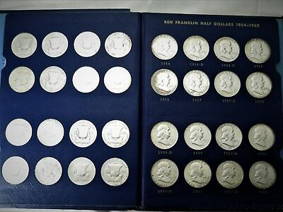 Complete Collection of Franklin Silver Half Dollar s .50c 1948-1963 Album |11135