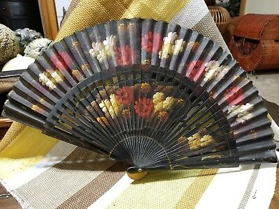 Antique Painted Hand Fan Wood & Silk Spain