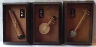 """SET OF 3 VINTAGE ENESCO FRAMED CHINESE BAMBOO MUSICAL INSTRUMENTS 8""""x5"""""""