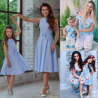 New Women Girl Mother Daughter Matching Dresses Floral Summer Clothes Outfits