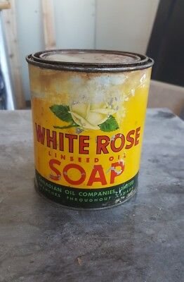 RARE white rose oil can linseed oil soap bucket canada enarco sign