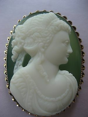 Rare  Antique Victorian Carved Hardstone Cameo Solid 14k Gold Large!