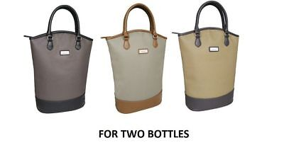 Sachi BYO Wine For 2 Bottle Insulated Cooler Bag Tote Carrier Purse Handbag